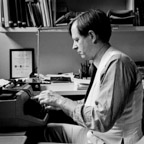 Tom Wolfe working at his typewriter in his New York City apartment.